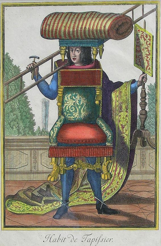 L'Habit du Tapissier. Gravure du XVIIIe siècle.